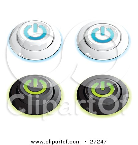 Clipart Illustration of a Set Of White And Blue And Black And Green Power Buttons In On And Off Positions, On A White Background by beboy