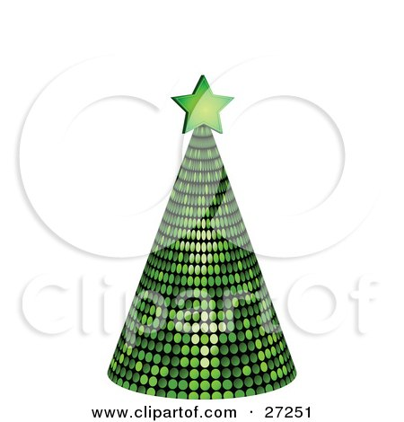 Clipart Illustration of a Green Mirrored Disco Tree Topped With A Star, On A White Background by elaineitalia