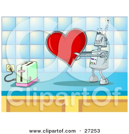 Clipart Illustration of a Silly Robot In Love, Holding A Red Heart Valentine Out To A Toaster On A Kitchen Counter by Holger Bogen