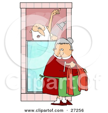 Clipart Illustration of Mrs Claus Bringing Santa A Towel While He Sings And Soaps Up In The Shower by djart