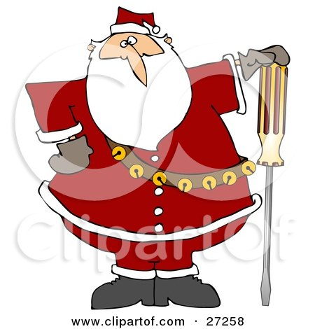Santa Claus In His Red Suit, Resting His Hand On Top Of A Flathead Screwdriver Posters, Art Prints