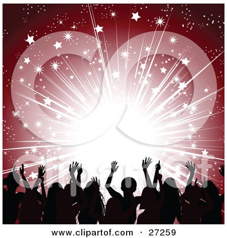 Clipart Illustration of a Silhouetted Men And Women Holding Their Arms Up In Front Of A Red Background With Bursting Bright Light And Stars by elaineitalia