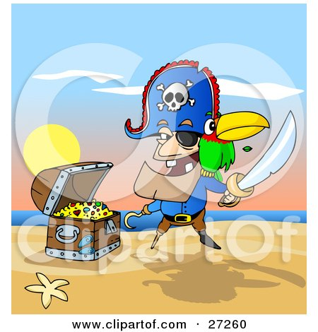 Clipart Illustration of a Male Pirate With Two Teeth, A Hook Hand And Peg Leg, Holding A Sword And Defending His Treasure Chest On A Beach, A Parrot On His Shoulder by Holger Bogen