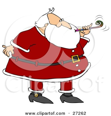 Clipart Illustration of Santa In A Suit, Blowing A Noise Maker At A New Year's Party by djart