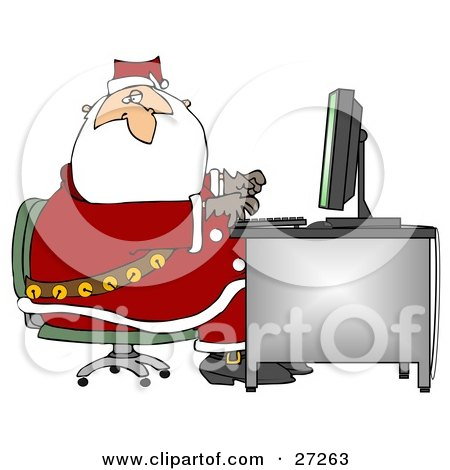 Santa In His Suit, Typing On A Desktop Computer While Responding To Dear Santa Emails Posters, Art Prints