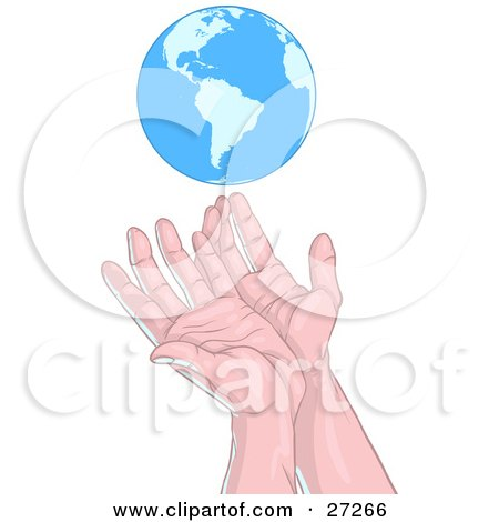 Clipart Illustration of Human Hands Reaching Up Towards Or Releasing The Blue Planet Earth, Over A White Background by Tonis Pan