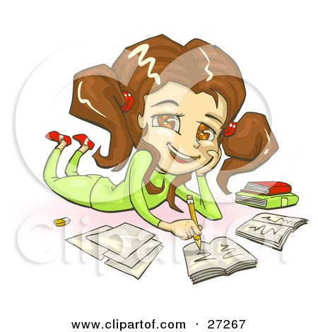 Clipart Illustration of a Smiling Brunette, Brown Eyed School Girl In Green Clothes, Laying On Her Belly And Doing Homework For School by Tonis Pan