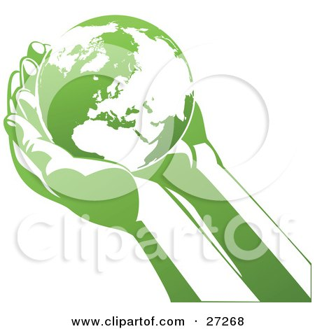 Clipart Illustration of The Planet Earth Resting In Cupped Human Hands, With Green And White Coloring. by Tonis Pan