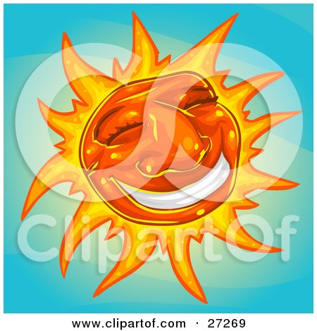 Clipart Illustration of a Friendly Orange Sun With A Big Grin And Rays Of Light, Smiling In A Blue Sky by Tonis Pan