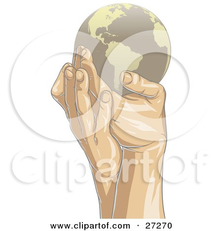 Clipart Illustration of Gentle Human Hands Holding A Brown Planet Earth With Tan Continents, Over A White Background by Tonis Pan