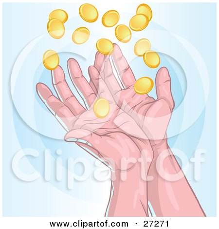 Clipart Illustration of a Pair Of Human Hands Catching Falling Gold Coins, Charity And Finance, On A Blue Background by Tonis Pan