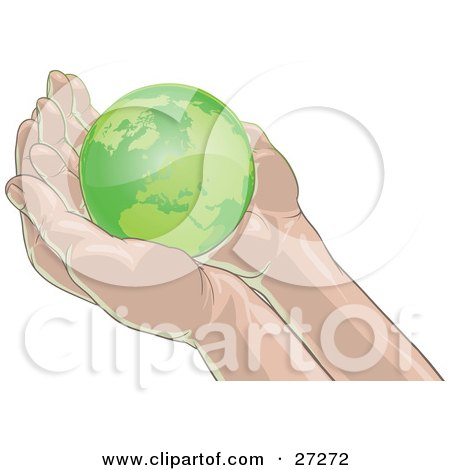 Clipart Illustration of Green Planet Earth Nestled In Gentle, Cupped Human Hands, On A White Background by Tonis Pan