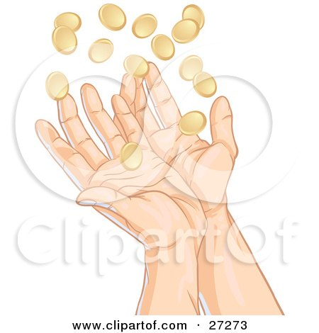 Clipart Illustration of a Pair Of Human Hands Reaching Up To Catch Falling Gold Coins, Symbolizing Success, Winnings, Charity And Finance In General by Tonis Pan
