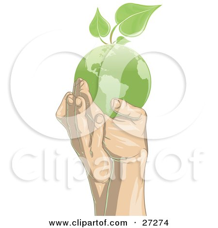 Clipart Illustration of a Pair Of Gentle Human Hands Supporting A Green Planet Earth With Green Leaves Sprouting From The Top Of The Globe by Tonis Pan