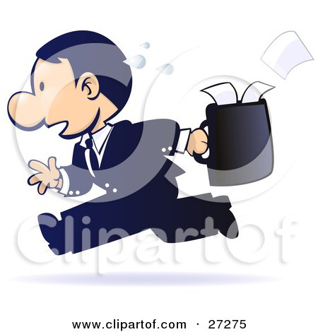 Clipart Illustration of a Gradient Blue, Sweaty, Stressed Out Businessman Running With Papers Spilling Out Of His Briefcase Behind Him by Tonis Pan