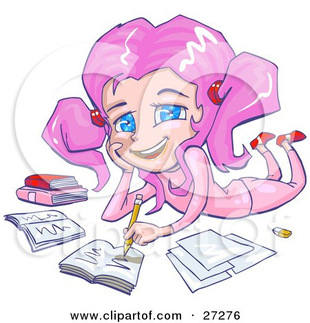 Clipart Illustration of a Smiling Pink Haired, Blue Eyed School Girl In Pink Clothes, Laying On Her Belly And Doing Homework For School by Tonis Pan