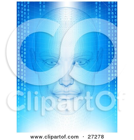 Clipart Illustration Of A Humanlike Head With Wire Frame Facing Front On A Blue And White Background Of Grids And Binary Coding