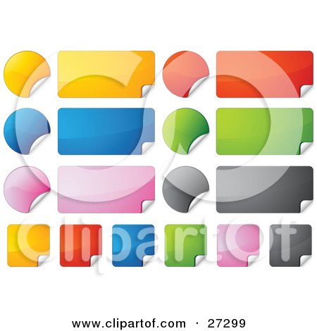 Clipart Illustration of a Collection Of Rectangular, Square And Circular Yellow, Red, Blue, Green, Pink, And Black Peeling Stickers by beboy