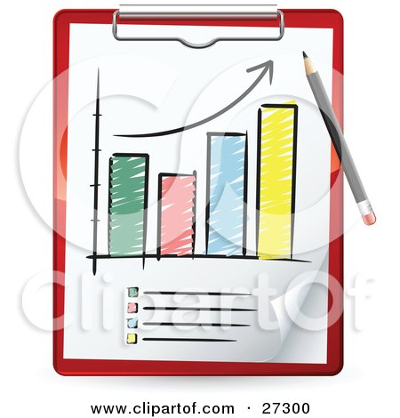 Clipart Illustration of a Red Pencil Drawing An Increase Arrow On A Sketched Bar Graph On A Red Clipboard by beboy