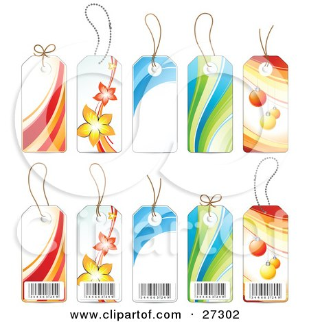 Clipart Illustration of a Collection Of The Front And Back Sides Of Five Product Label Tags With Barcodes, Flowers, Waves And Christmas Ornaments by beboy