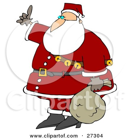 Clipart Illustration of Santa Wearing His Red Suit, A Belt And A Sash Of Jingle Bells, Carrying His Sack Of Toys At His Side And Hitchhiking by djart