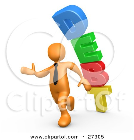 Clipart Illustration of an Orange Business Person Running Away From a Stack of DEBT Falling Behind Him by 3poD