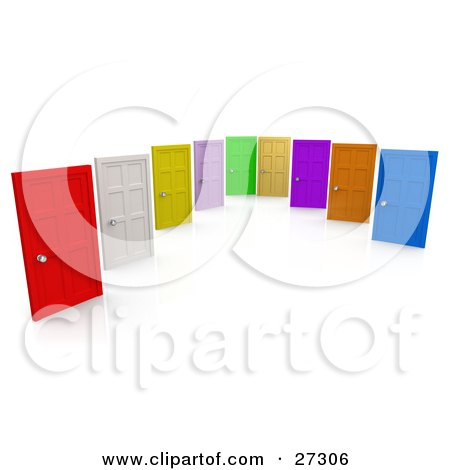 Clipart Illustration of Red, White, Yellow, Pink, Green, Tan, Purple, Orange and Blue Closed Doors, Symbolizing Choices And Opportunities by 3poD