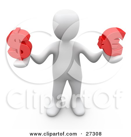Clipart Illustration of a White Person Standing And Holding A Red Dollar Symbol And Red Euro Symbol In His Hands, Symbolizing Finance, Currency Conversion, Etc by 3poD