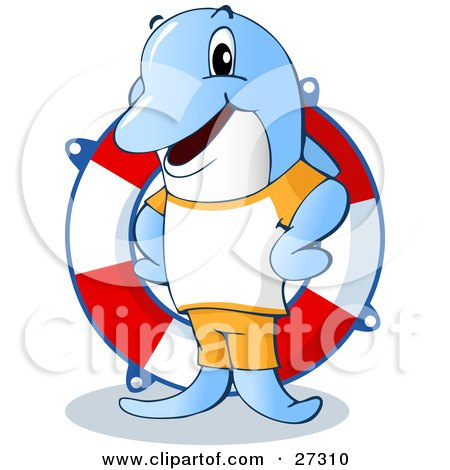 Friendly Blue Dolphin Life Guard Standing in Front of a Life Saver Ring Posters, Art Prints