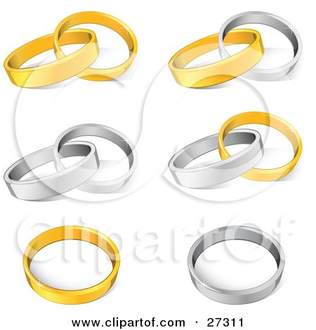 Clipart Illustration of a Collection Of Gold And Silver Wedding Band Rings Entwined Together And Resting Alone by beboy