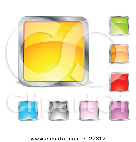 Clipart Illustration of a Collection Of Yellow, Green, Orange, Red, Purple, Pink, Gray And Blue Squares Or Buttons by beboy