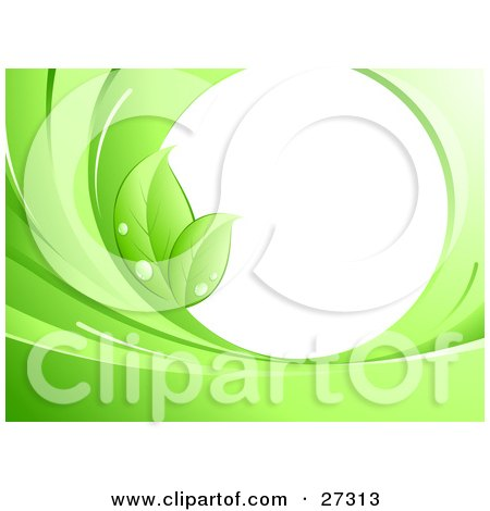 Clipart Illustration of Two Green Leaves With Dew, On The Edge Of A Blank White Circle, Surrounded By Green Waves by beboy
