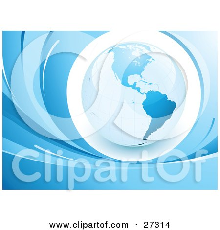 Clipart Illustration of a Blue Glob Featuring The Americas, Over A White Circle, Surrounded By Blue Waves by beboy