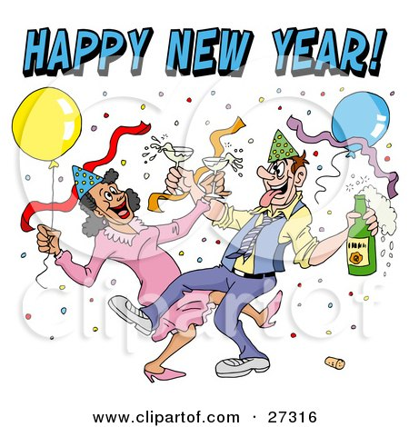 Drunk Couple Wearing Party Hats And Dancing With Champagne Under Balloons And Confetti At A New Year Party Posters, Art Prints
