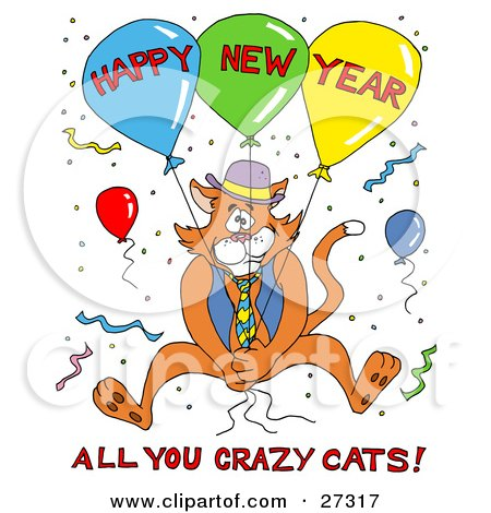 Clipart Illustration of an Orange Cat In A Vest And Tie, Holding Onto Balloons And Surrounded By Confetti At A Party, With Happy New Year All You Crazy Cats Text by LaffToon