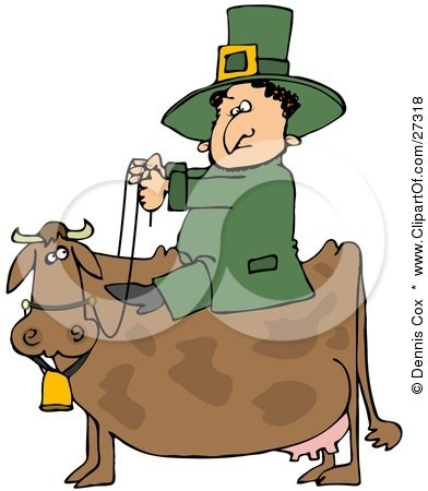 Clipart Illustration of a St Patricks Day Leprechaun In Green, Riding On A Brown Cow by Dennis Cox
