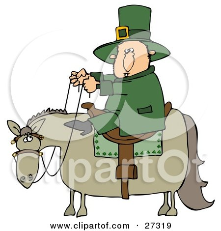 Clipart Illustration of a St Patricks Day Leprechaun In Green, Riding On A Chubby Horse by Dennis Cox