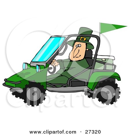 Clipart Illustration of a St Patrick's Day Leprechaun In Green, Driving A Mud Bug Atv With An Ice Chest In The Back by Dennis Cox