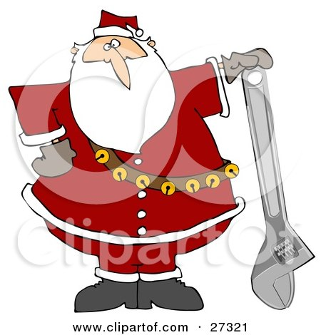 Clipart Illustration of Santa Claus In His Red Suit, Resting His Hand On Top Of An Adjustable Wrench by djart