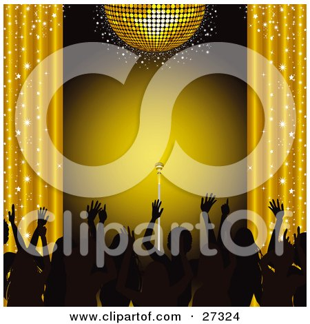 Clipart Illustration of Silhouetted Fans Waving Their Hands In The Air, Under A Gold Disco Ball With Sparkling Curtains And A Spotlight On A Microphone On Stage by elaineitalia