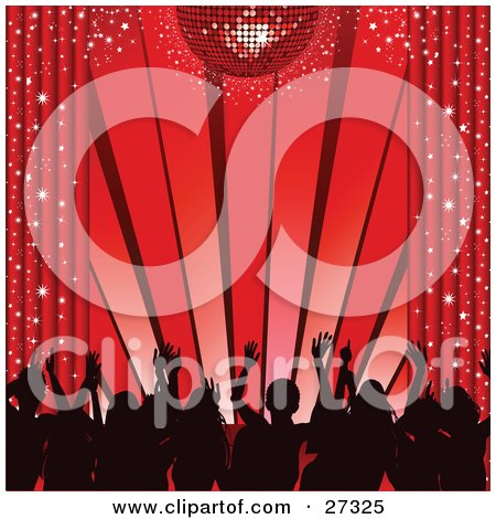 Clipart Illustration of Silhouetted Dancers Waving Their Hands In The Air, Under A Red Disco Ball With Sparkling Curtains by elaineitalia