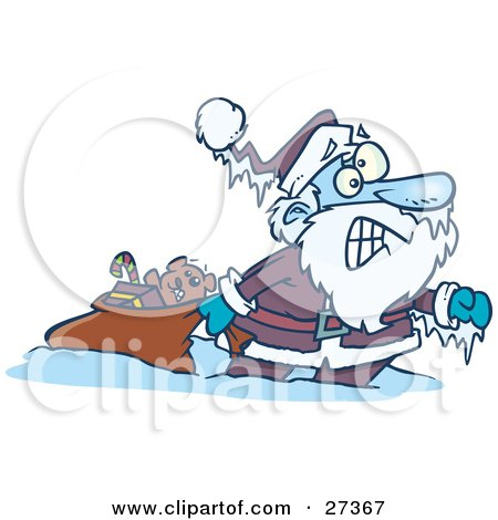 Clipart Illustration of Santa Claus Pulling A Toy Sack, Frozen Solid With Icicles Hanging From His Hat And Hand by toonaday
