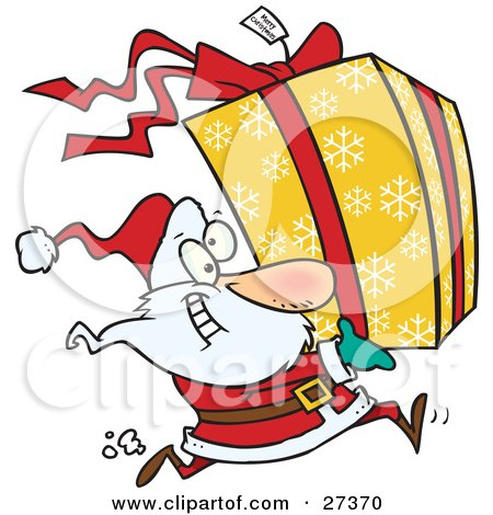 Clipart Illustration of Santa Claus Running To Deliver A Large Christmas Present Gift Wrapped In A Red Bow, Ribbon And Yellow Paper With A White Snowflake Pattern by toonaday