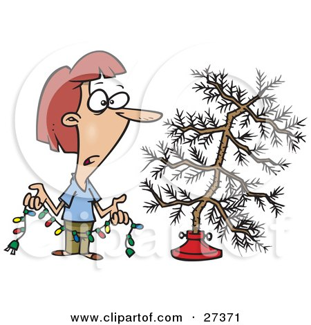 Clipart Illustration of a Depressed Caucasian Woman Holding Colorful Christmas Lights And Looking At Her Dead Christmas Tree In The Stand by toonaday