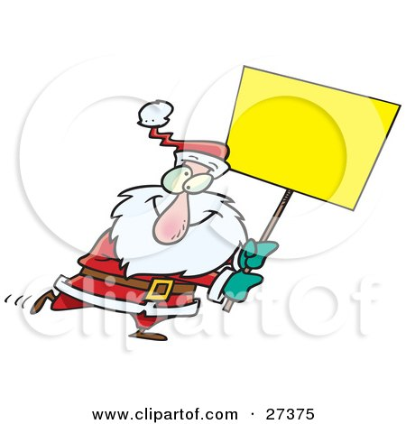 Clipart Illustration of a Cross Eyed Santa Walking Around With A Blank Yellow Sign For Advertising by toonaday