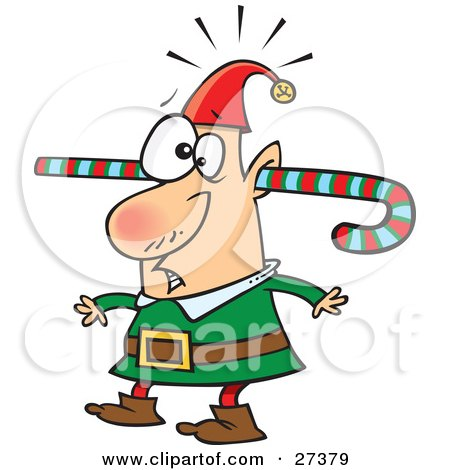 Clipart Illustration of a Confused Elf Walking Around With A Colorful Striped Candy Cane Going Through One Ear And Out The Other by toonaday