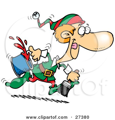 Clipart Illustration of One Of Santa's Elves Running To Paint A Wall Red For Christmas Time by toonaday