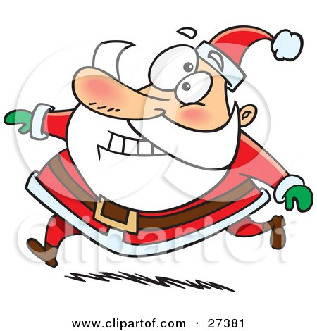 Clipart Illustration of Santa Claus Grinning And Running In His Red Suit by toonaday