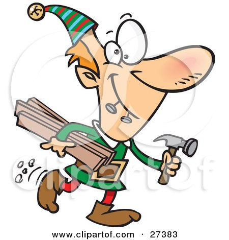 Clipart Illustration of Santa's Male Elves Biting Two Nails In His Mouth And Carrying Plywood And A Hammer To The Toy Shop by toonaday