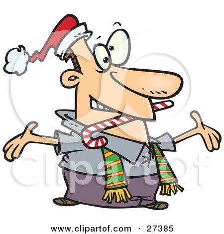 Clipart Illustration of a Hyper And Welcoming Caucasian Man Wearing A Santa Hat And Scarf, Biting A Candy Cane And Holding His Arms Wide Open While Greeting Friends Or Family by toonaday